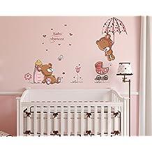 vinilos decorativos baby oso en color rosa tatuajes de pared efecto x cm teddy oso corazn flores etc