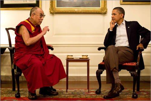 Posterlounge Acrylglasbild 120 x 80 cm: Präsident Barack Obama trifft Den Dalai Lama von Everett Collection - Wandbild, Acryl Glasbild, Druck auf Acryl Glas Bild (Obama-glas Barack)