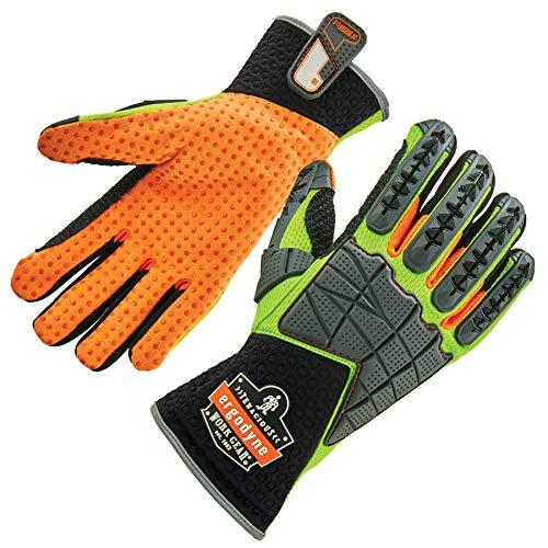 Ergodyne ProFlex 925F (X) Impact reduziert Arbeitshandschuhe mit Rückseite Hand Schutz, lime, mittel, Set von 2Stück -
