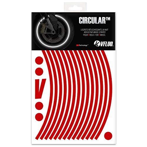 VFLUO CircularTM, Kit de Cintas, Rayas Retro Reflectantes para Llantas de Moto (1 Rueda), 3M TechnologyTM, Anchura Normal : 7mm, Rojo Rubi