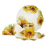 MamboCat 52-tlg. Einweggeschirr Party-Set Sonja mit Gelben Sonnenblumen | Pappgeschirr für 16 Personen: Pappteller + Becher + Servietten | für Festliche Anlässe und Partys