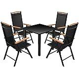 lingjiushopping Outdoor Dining Set 5Teile, Aluminium schwarz Farbe: schwarz Tisch Material: Glas Top + 100% Aluminium, pulverbeschichtet Rahmen