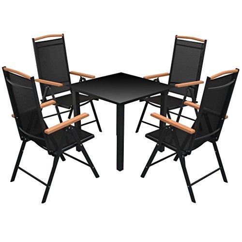 Lingjiushopping Ensemble de salle à manger extérieure 5 pièces Aluminium Noir Couleur : Noir Matériau : Verre haut + 100% aluminium, revêtement en poudre Cadre