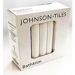 White Gloss Tile 6ft x 23mm (1.8m), Ceramic White Bathtrims / Quadrant Sets Tiles, Per Pack