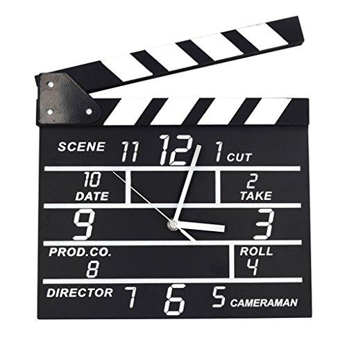 ASL Creative Uhren, Film Continuity Die Bell Writing Clock Wanduhr Retro Message Board Persönlichkeit Mode Woody Wohnzimmer Studio Schlafzimmer Notebook Uhren W30.2xH27.5cm Neu ( Farbe : A ) (Asl Filme)