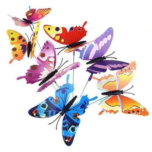 KINGLAKE 36 Stücke Garten Schmetterlinge Ornamente auf Stöcke 8 cm Schmetterling Stakes Dekorationen für Terrasse Rasen Outdoor Schmetterlinge Dekoration, 12 Farben