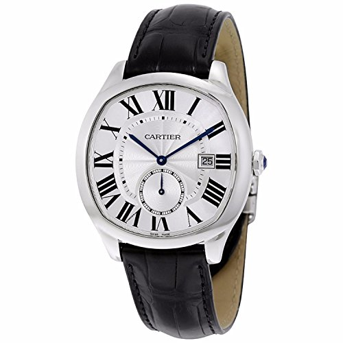 Cartier Men's 40mm Black Leather Band Steel Case Automatic Silver-Tone Dial Analog Watch WSNM0004