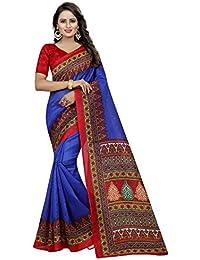 Sretan Women's Bhagalpuri Cotton Silk Saree With Blouse Piece