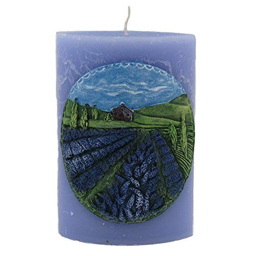 tradingbay24 Duft-Kerze Ellipse mit Motiv 15 cm x 10 cm x 6,5 cm Handarbeit durchgefärbt Handmade Duft-Deko-Kerze Duft-Design-Kerze (violett (Lavendel)) Violett-motiv