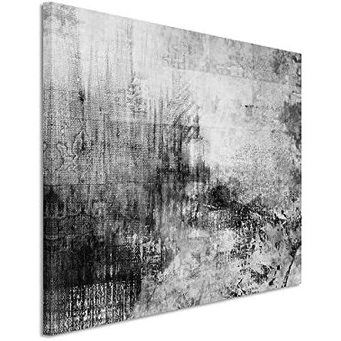 50x 70cm Cuadro Foto lienzo de en Negro Blanco abstracto acrílico con pincel II