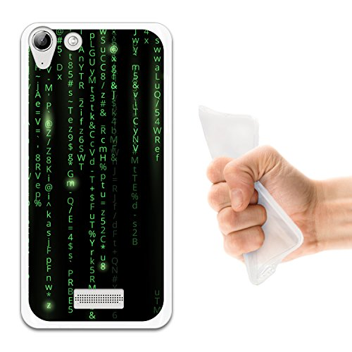 WoowCase Wiko Selfy 4G Hülle, Handyhülle Silikon für [ Wiko Selfy 4G ] Grüner Matrix Code Handytasche Handy Cover Case Schutzhülle Flexible TPU - Transparent