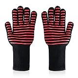 Xinfang Verbesserte 1472 ° F Hitzebeständige Grillen Handschuhe BBQ Ofen Handschuhe Handschuhe Schutzhandschuhe & Topflappen für BBQ, Grillen, Kochen, Ofen Backen 1 Paar Schwarz
