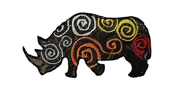 Nashorn 7,5 cm 4,1 cm Bügelbild Aufnäher Applikation Savanne Afrika ZooTier