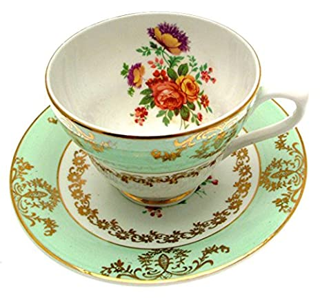 Penvearn Green Floral Cup and Saucer by Penvearn