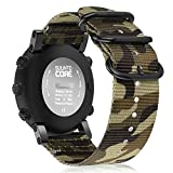 Fintie Armband für Suunto Core - Premium Nylon atmungsaktive Uhrenarmband Sport Armband verstellbares Ersatzband mit Edelstahlschnallen für Suunto Core Smartwatch, (Camouflage Grün)