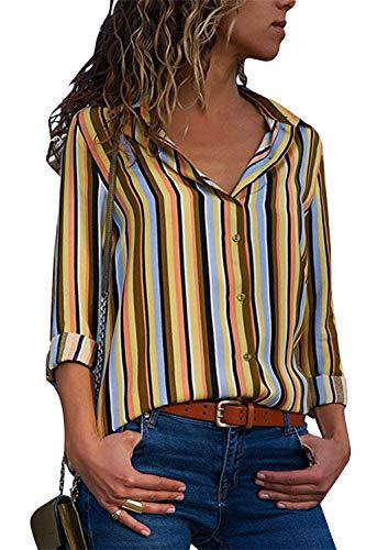 Cindeyar Damen Bluse Gestreift Langarm V-Ausschnitt Elegant Casual Oberteil Top Langarmshirt (Gelb, M)