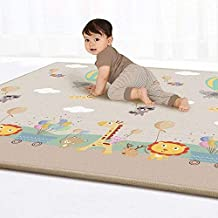 """SKY-TOUCH Children Play Mat Baby Crawling Mat Double-Sided Waterproof Kids Playing Gym Mats Ideal Gift for Baby Baby Gift 79""""x71""""Extra Large (Color : Animal paradise)"""