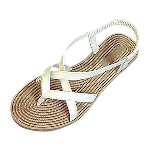 Goodsatar Frauen flache Schuhe Bandage Bohemia Freizeit Lady Sandalen Peep-Toe Outdoor Schuhe (38,