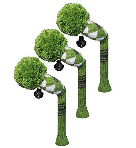 3PCS verpackt Golf Hybrid/Utilities Head Cover, Grün Argyles Stil, austauschbar Nr. Tags, -