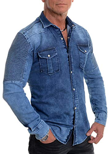 D&r fashion camicia di jeans da uomo costine denim blu tessuto spesso clips manica lunga xxxl