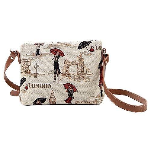 Borsetta donna Signare alla moda in tessuto stile arazzo a spalla borsa messenger a tracolla vari disegni Miss Londra