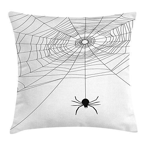 KLYDH Spider Web Throw Pillow Cushion Cover, Complex Doodle Net Sticky Gossamer Hunting Insect Catch Danger Prey Spooky, Decorative Square Accent Pillow Case, 18 X 18 inches, Black White