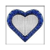 Bellissa Herz Gitter Pflanzschale Grabschmuck Grabgestaltung mit Glassplitt Farbe Dark Blue