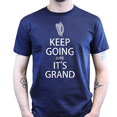 Keep Calm Going Sure It's Grand Irish St. Patrick's Day Paddy T-shirt Navy Blau