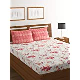 Bombay Dyeing Elixir 144 TC Cotton Double Bedsheet with 2 Pillow Cover - White