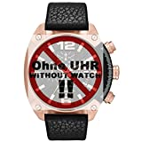 Diesel Uhrband Wechselarmband LB-DZ4297 Original Ersatzband DZ 4297 Uhrenarmband Leder 24 mm Schwarz