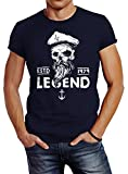 Neverless Herren T-Shirt Skull Captain Legend Totenkopf Bart Kapitän Slim Fit Navy M