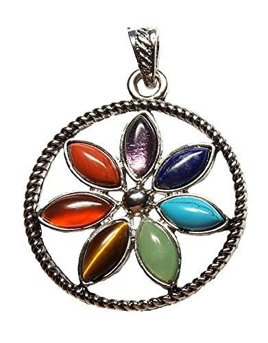 KRIO - Chakra Anhänger mit 7 verschiedenen Steinen, Talismann, Glücksbringer