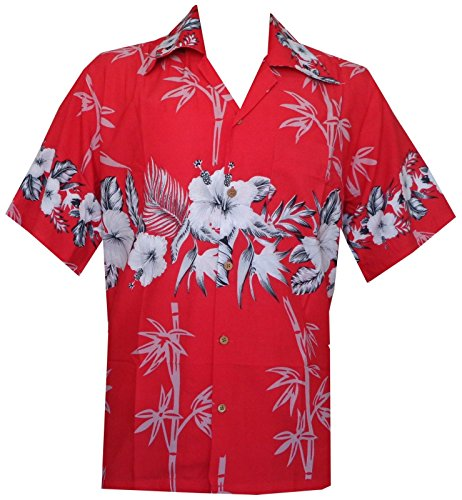 Alvish Herren Button-down Freizeit-Hemd Gr. Large, Rot - Rot (4 Hawaii-hemden X)