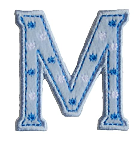 M BaBy Blue ABC letter 9cm big for fabric names crafts jeans clothing to iron on skirt dresses cap jacket neckerchief ceiling flag pants plate backpack trousers cushion scarf bunting bag hat door hat to personalise gifts for children idea clothes kids birthday hobby fabric child letters diy nursery christening arts personally boy embroidered sports football baby baptism club city girl personalized decoration personal application mend wall applique personalise arts sewing decorating wall