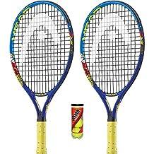 Head Novak - Raquetas de Tenis para niños (2 Unidades, Incluye 3 Pelotas y