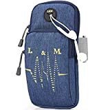 Fascia da braccio sportiva,Universal Running Gym Workout Resistente Sacchetto del braccio Custodia foro per auricolari e tasche doppie per iPhone Xr/Xs Max/ 8 Plus Galaxy S9 Plus Note 9 8-Blu