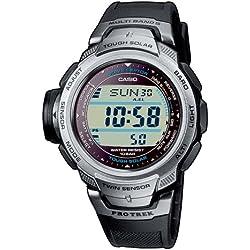 CASIO Sport Pro Trek PRW-500-1VER - Reloj de cuarzo con correa de resina para hombre (con multifunción, altímetro, radio, cronómetro), color negro