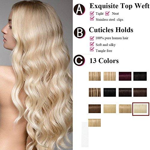 Extension a Clip Cheveux Naturel Blond Platine [8 Pièces 18 Clips] 100% Remy Hair [20\\