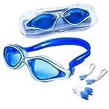 riptide Schwimmbrille - Taucherbrille in blau I mit Ohrenstöpsel und Nasenklammer I für Erwachsene...