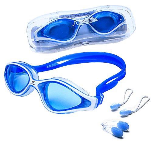 riptide Schwimmbrille in blau/weiß - Taucherbrille mit Aufbewahrungsbox, Nasenklemme und...