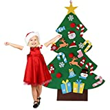 Felt Christmas Tree Decorations Set With Ornaments - Double Stitched- Wall Hanging-Handmade 26 Pcs Detachable Christmas Ornaments 3.1FT