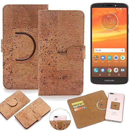 K-S-Trade Schutz Hülle für Motorola Moto E5 Plus Dual-SIM Handyhülle Kork Handy Tasche Korkhülle Schutzhülle Handytasche Wallet Case Walletcase Flip Cover Smartphone Handyhülle