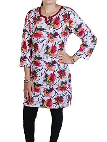 Delle donne tunica top con scollo a V indiano T casuali manica corta t-shirt camicetta -l