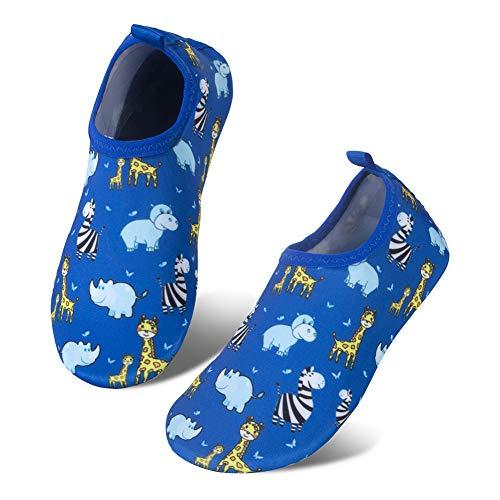 IceUnicorn Kinder Strandschuhe Jungen Mädchen Schwimmschuhe Aqua Schuhe Baby Badeschuhe für Beach Pool Surfen Yoga Unisex(XCJL-Blau 20/21EU)