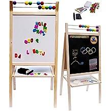 Salut Maman–Pizarra con patas Whiteboard Madera Plegable malgestell vitrina Pizarra Set de accesorios, 100x 46x 40cm, natural