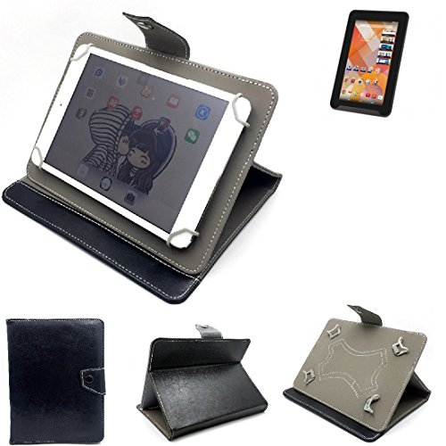 K-S-Trade Schutz Hülle Tablet Case für Medion Junior Tab S7322, schwarz. Tablet Hülle mit Standfunktion Ultra Slim Bookstyle Tasche Kunstleder