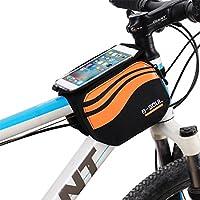 Bolsa bicicleta frontal 2-lados alforja delantera bolsa de manillar de 5.8 Pulgadas Móvil PVC Transparente Impermeable Bolso Para MTB bicicletas de montaña (Naranja)