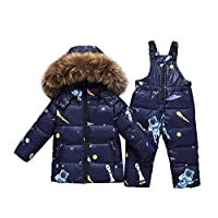 CADong Baby Girls Boys Two Piece Puffer Down Winter Warm Snowsuit Jacket with Snow Ski Bib Pants (Navy, 120cm/47)