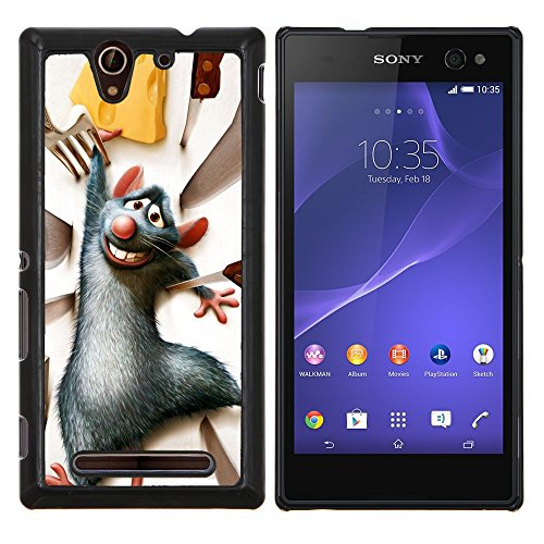 YiPhone /// Premium Slim Snap caso della copertura posteriore Armatura Shell - Ratto Roditore Grigio formaggio personaggio dei cartoni animati - Sony Xperia C3