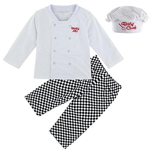 Mit 3 Eine Familie Für Kostüm - Mombebe Baby Jungen Chef Kostüm Bekleidung Set mit Hut (Chef, 0-6 Monate)